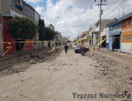 Protestan por obras inconclusas en calles del centro de Tepeaca