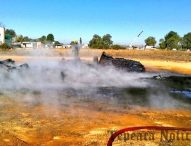 Casi dos días después, controlan incendio en ductos en Progreso de Juárez, Acatzingo