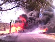 Arde toma clandestina en Santa María Nenetzintla, Acajete;atiende bomberos de Tepeaca