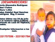 Reportan desaparición de jóvenes y un bebé  en Tepeaca y Tecali de Herrera
