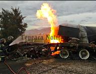 Se incendia pipa de gas en autopista Puebla-Orizaba, en  Tepeaca; cierran carretera