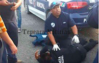 Agreden  delincuentes a policias   de Tepeaca en entronque a autopista